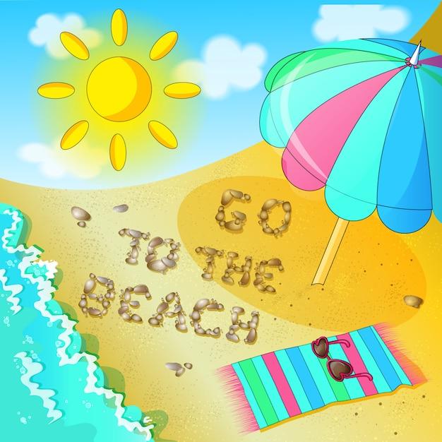 Plakat zum thema strand. eine einladung an den strand zu kommen. Premium Vektoren