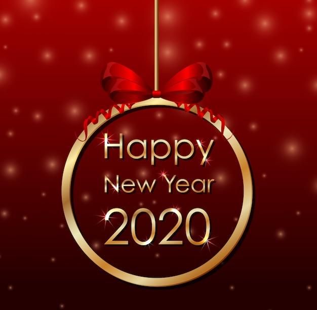 Plakatbanner für das neue jahr 2020 Kostenlosen Vektoren