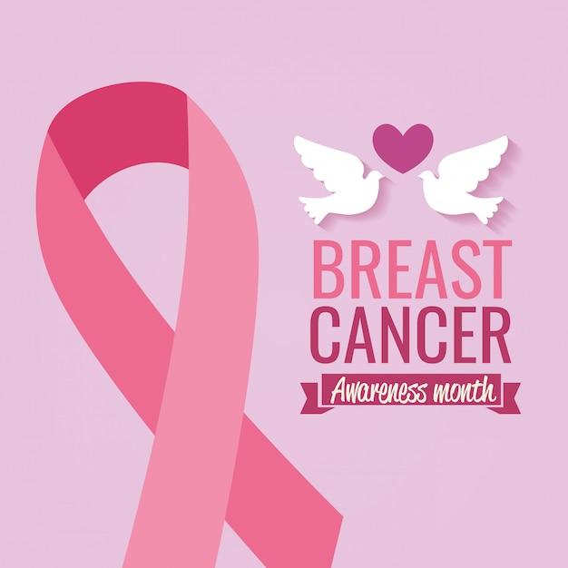 Plakatbrustkrebs-bewusstseinsmonat mit tauben und band Kostenlosen Vektoren