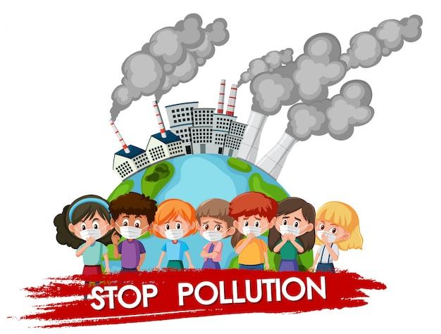 Plakatdesign für endverschmutzung mit den kindern, die maske tragen Premium Vektoren