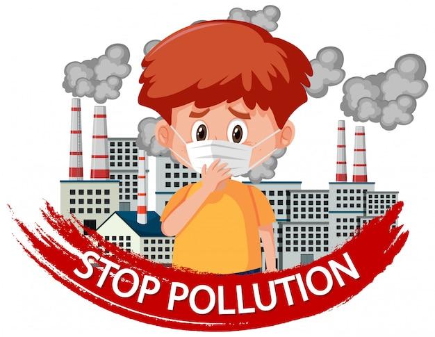 Plakatdesign für endverschmutzung mit tragender maske des jungen Premium Vektoren