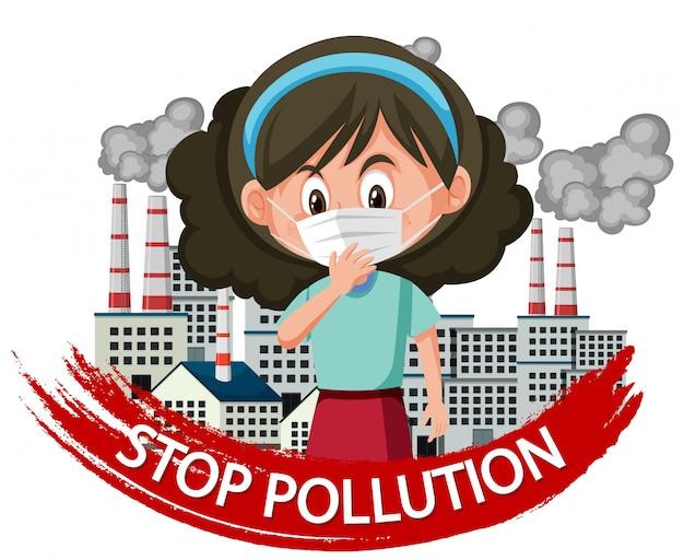 Plakatdesign für endverschmutzung mit tragender maske des mädchens Premium Vektoren