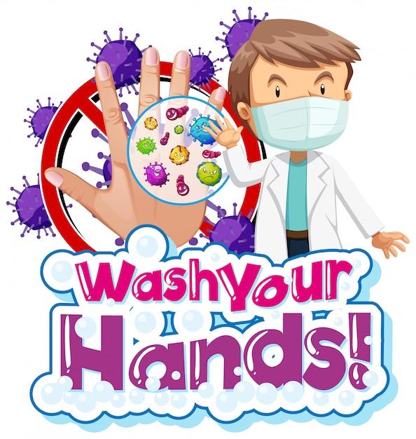 Plakatentwurf für coronavirus-thema mit doktor und schmutziger hand Kostenlosen Vektoren