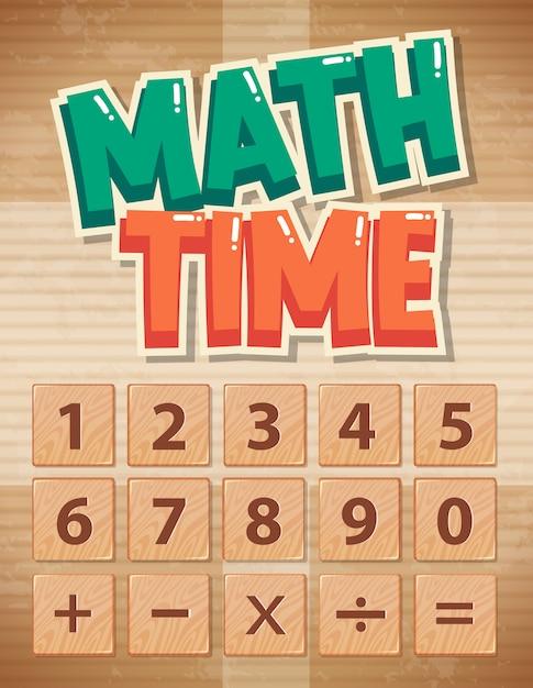 Plakatentwurf für mathe mit zahlen und zeichen Kostenlosen Vektoren
