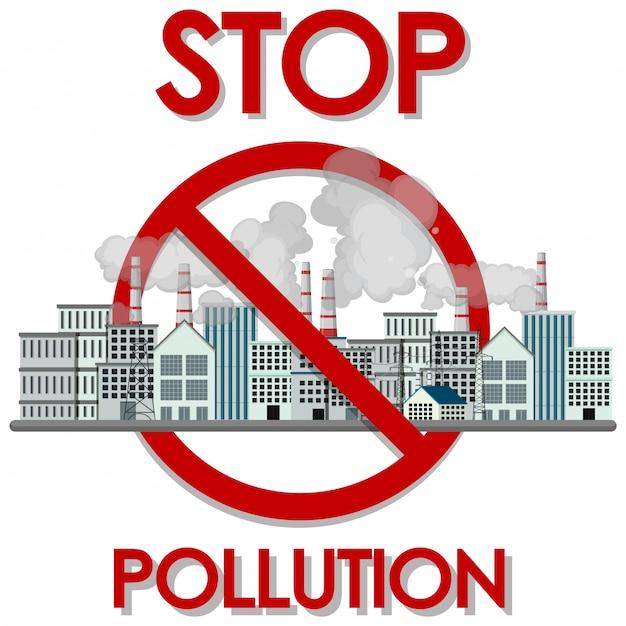 Plakatentwurf zum stoppen verschmutzung mit fabrikgebäuden und rauch Premium Vektoren