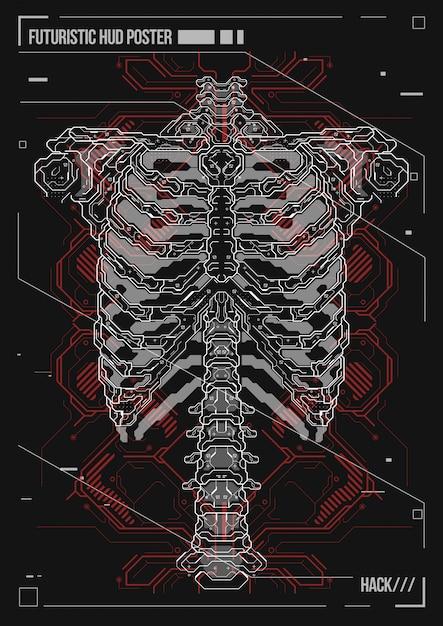 Plakatgestaltung menschlichen körper mit futuristischen hud-elementen. hologramm anatomie und skelett des menschen. Premium Vektoren