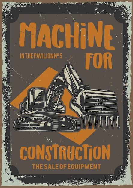 Plakatgestaltung mit illustration von maschinen für das bauen Kostenlosen Vektoren