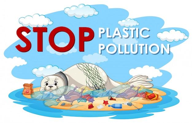 Plakatgestaltung mit siegel und plastiktüten Kostenlosen Vektoren