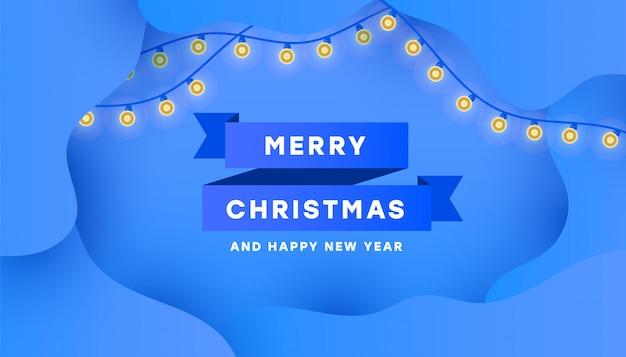 Plakatkarte der frohen weihnachten und des guten rutsch ins neue jahr mit minimalem blauem band und girlande Premium Vektoren