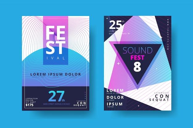 Plakatsammlung für elektronische musik Premium Vektoren