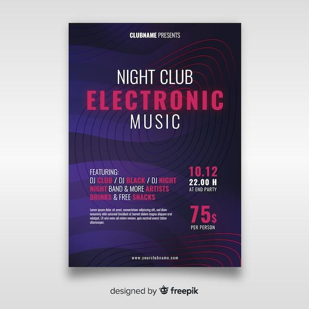 Plakatschablone der abstrakten welle der elektronischen musik Kostenlosen Vektoren