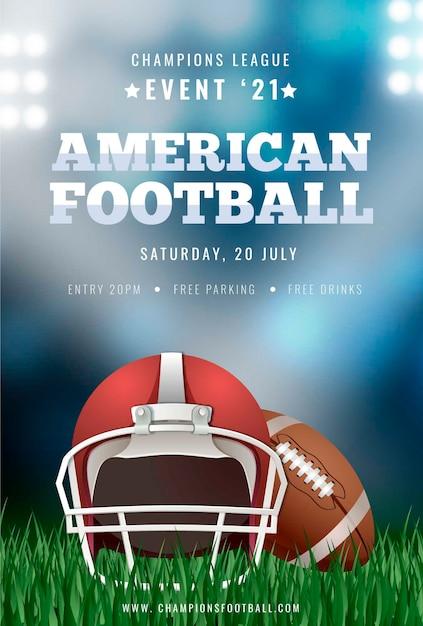 Plakatschablone des amerikanischen fußballs mit ball Kostenlosen Vektoren