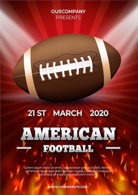 Plakatschablone des amerikanischen fußballs Kostenlosen Vektoren