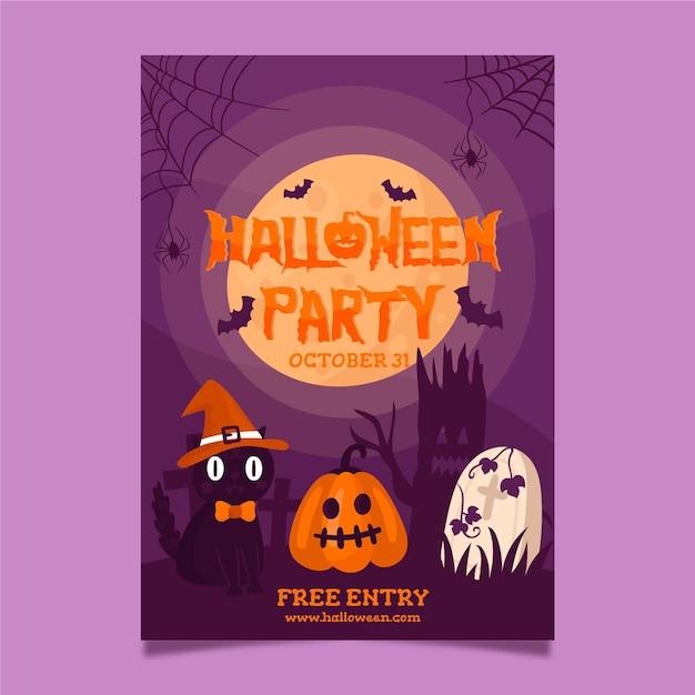 Plakatschablone für halloween-partei Kostenlosen Vektoren