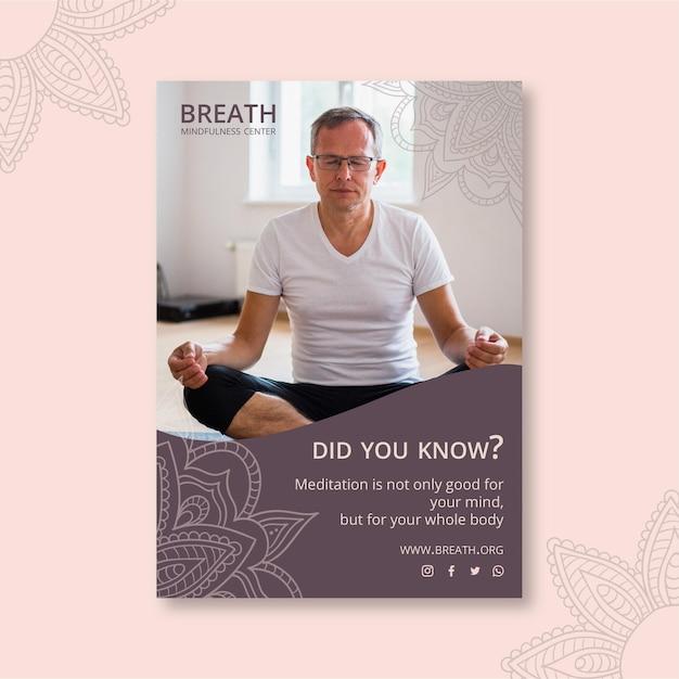 Plakatschablone für meditation und achtsamkeit Kostenlosen Vektoren