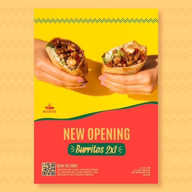 Plakatschablone für mexikanisches nahrungsmittelrestaurant Premium Vektoren