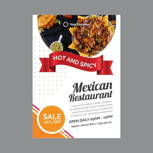 Plakatschablone für mexikanisches restaurant Kostenlosen Vektoren