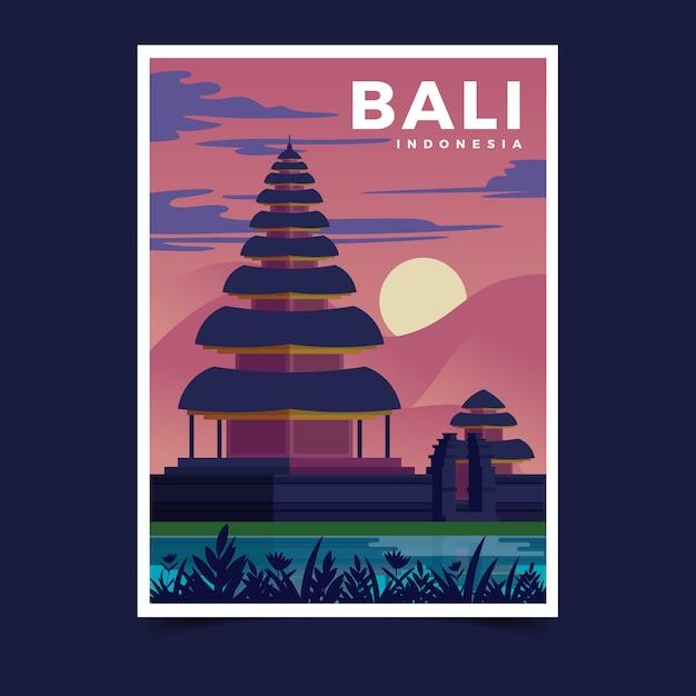 Plakatschablone für reise mit illustration Kostenlosen Vektoren
