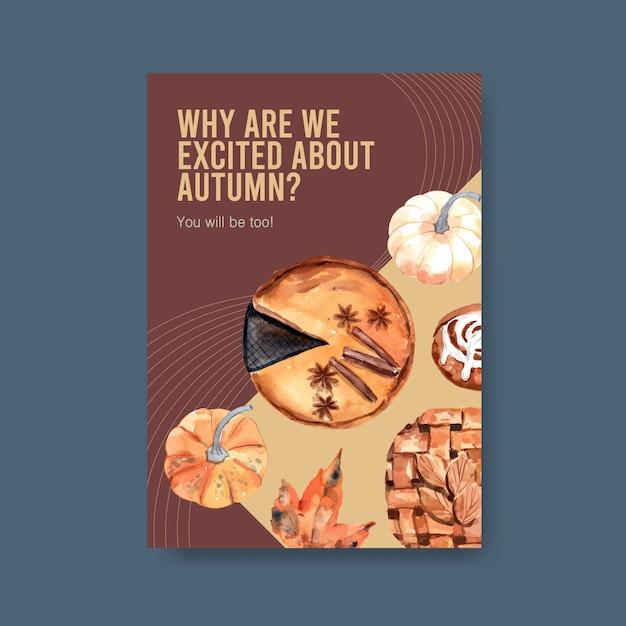 Plakatschablone mit dem täglichen konzeptentwurf des herbstes für broschüre und flugblattaquarell Kostenlosen Vektoren