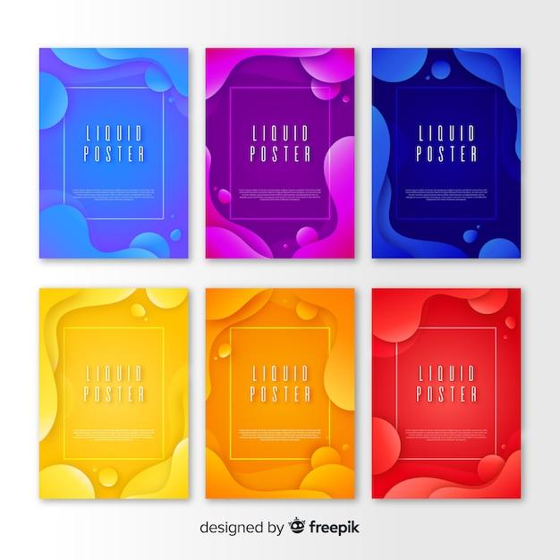Plakatschablone mit flüssigen formen Kostenlosen Vektoren