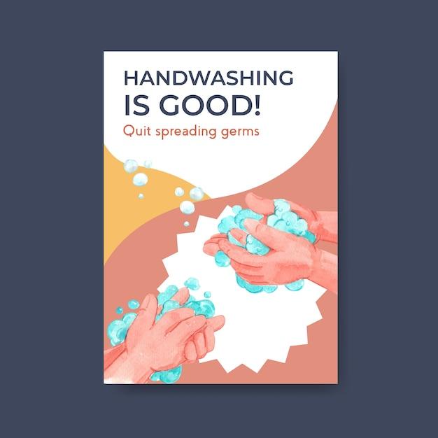 Plakatschablone mit globalem handwaschtag-konzeptentwurf für broschüren- und flugblattaquarell Kostenlosen Vektoren