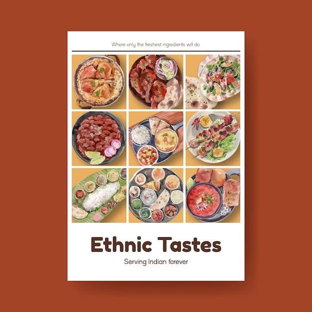 Plakatschablone mit indischem essen Kostenlosen Vektoren