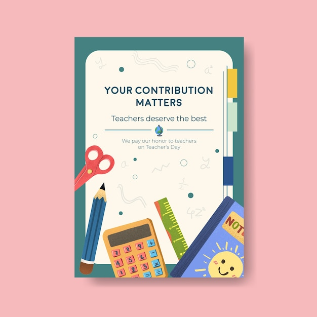 Plakatschablone mit konzeptentwurf des lehrertags für broschüre und faltblatt Kostenlosen Vektoren