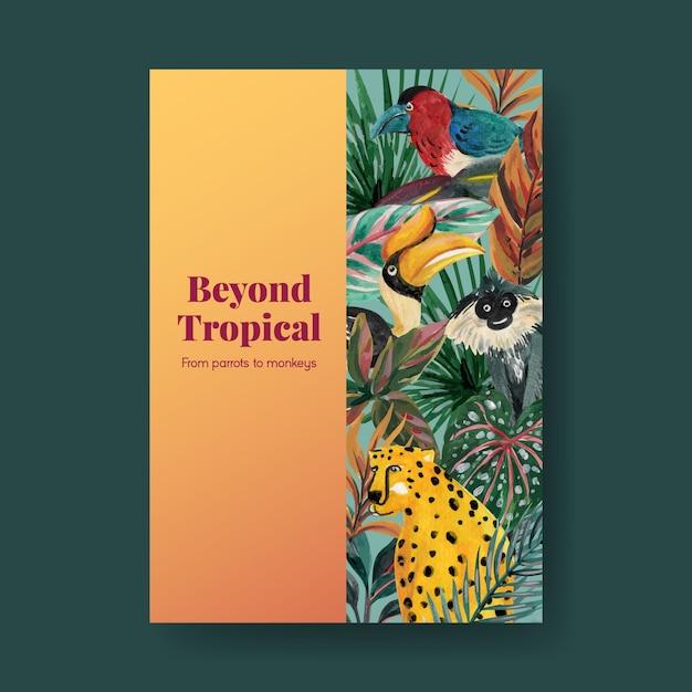Plakatschablone mit tropischem zeitgenössischem konzeptentwurf für werbung und vermarktung aquarellillustration Kostenlosen Vektoren