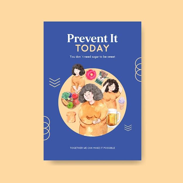 Plakatschablone mit weltdiabetestag für anzeigen und vermarktung von aquarell Kostenlosen Vektoren