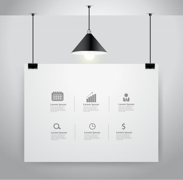 Plakatspott oben auf wand und lampe Premium Vektoren