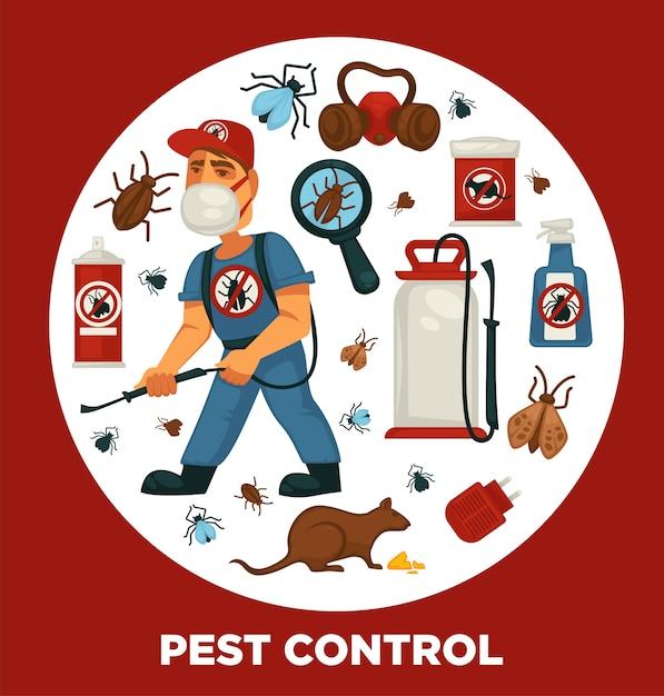 Plakatvorlage für unternehmen zur bekämpfung von ausrottung oder schädlingsbekämpfung zur desinfektion von sanitären anlagen in privathaushalten. Premium Vektoren