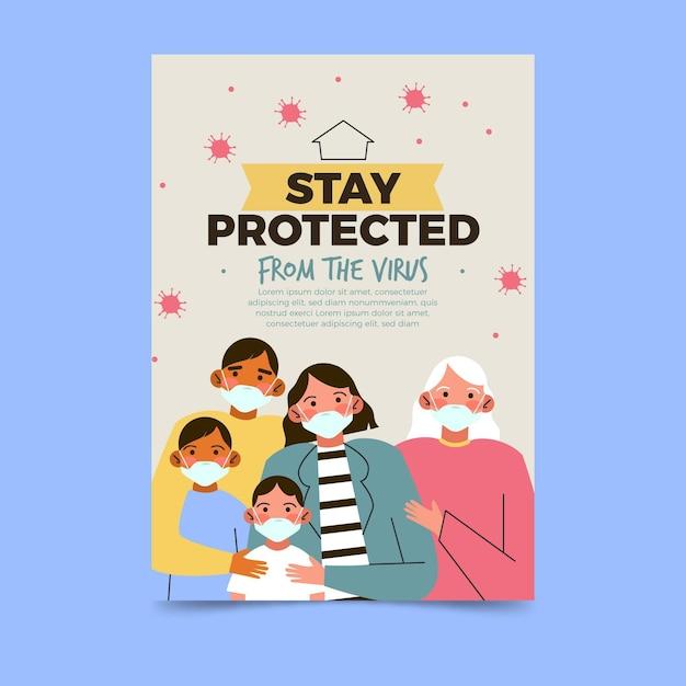 Plakatvorlage für virenschutz Premium Vektoren