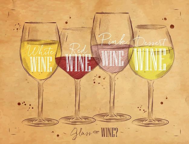 Plakatweinsorten mit vier hauptarten der weinbeschriftung weißwein, rotwein, roséwein, dessertweinzeichnung im weinlesestil auf krafthintergrund Premium Vektoren