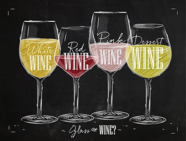 Plakatweinsorten mit vier hauptarten der weinbeschriftung weißwein, rotwein, roséwein, dessertweinzeichnung mit kreide im vintage-stil auf tafel. Premium Vektoren