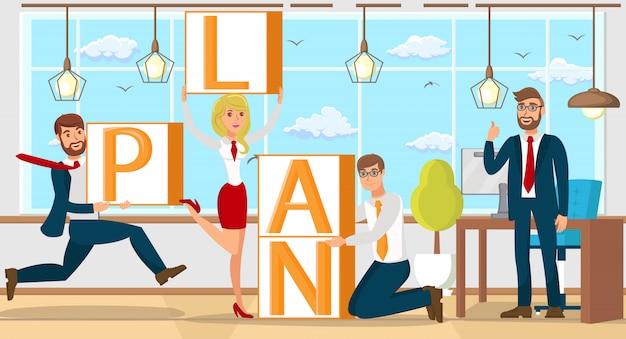 Planen sie im startup-teamwork. flache vektor-illustration Premium Vektoren