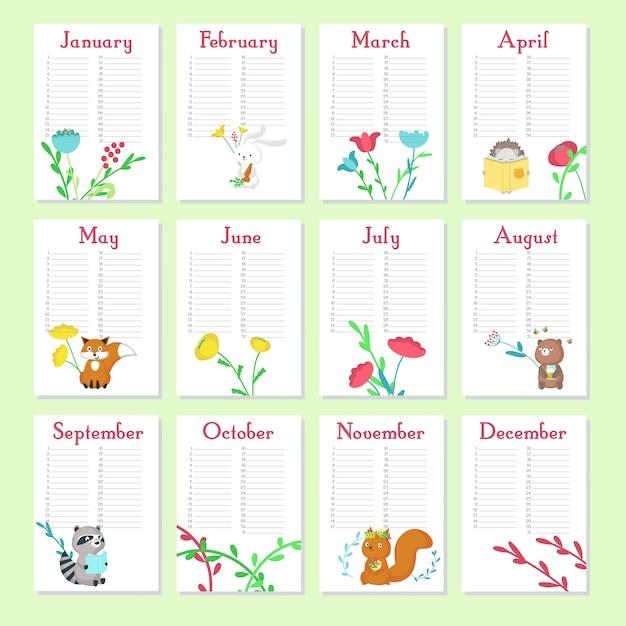 Planer kalender vektor vorlage mit niedlichen tieren Premium Vektoren