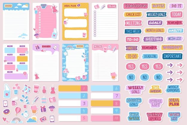 Planer und aufkleber organisierte tägliche notizbuch-tagebuch-tagesordnungserinnerung Premium Vektoren