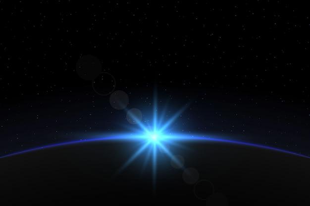 Planet erde sonnenaufgang. globe horizon-atmosphäre Premium Vektoren