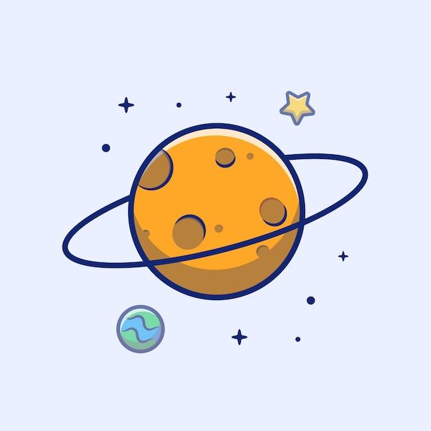 Planet icon. planet, stern und erde, raum-ikonen-weiß lokalisiert Premium Vektoren