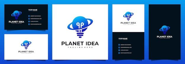Planet idee logo design mit visitenkartenvorlage Premium Vektoren