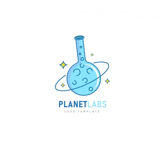 Planet labs mit chemieröhrchen-design für pharmazeutische, labor- und chemische produkte Premium Vektoren