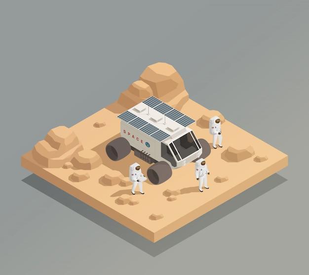 Planetary rover astronauts isometrische zusammensetzung Kostenlosen Vektoren