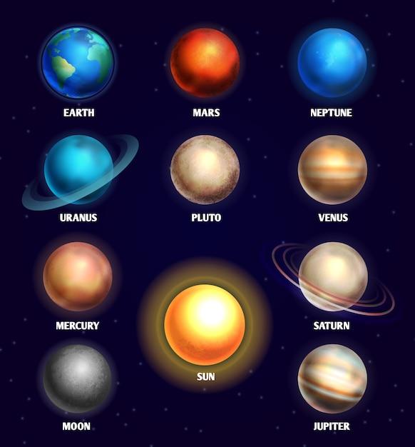 Planeten des sonnensystems und der sonnenerziehung Premium Vektoren