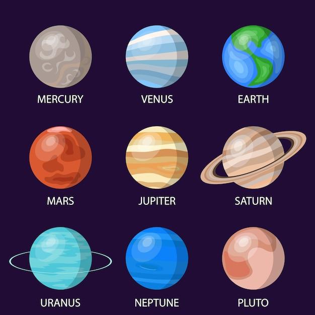 Planeten des sonnensystems Premium Vektoren