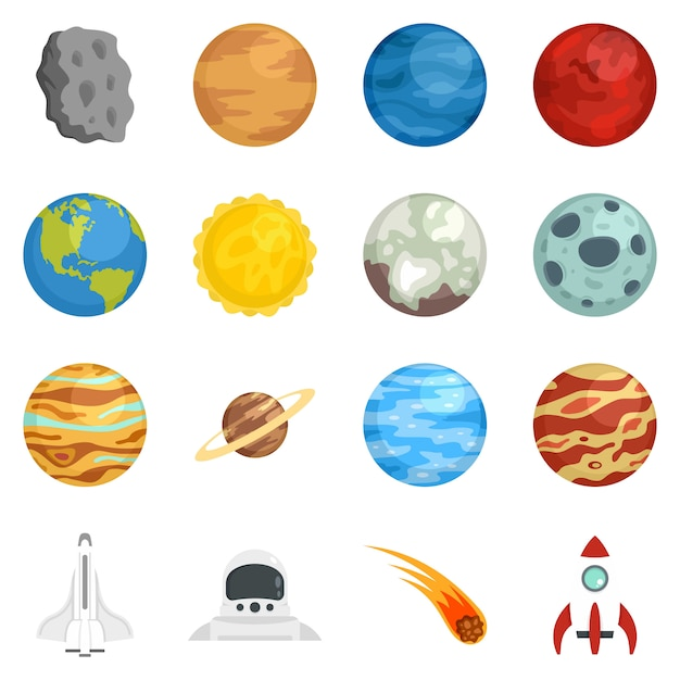 Planeten-icon-set Premium Vektoren