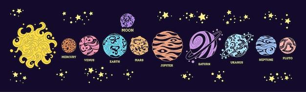 Planeten rudern im raum. buntes gekritzel-sonnensystem im dunklen hintergrund. astronomisches observatorium Premium Vektoren
