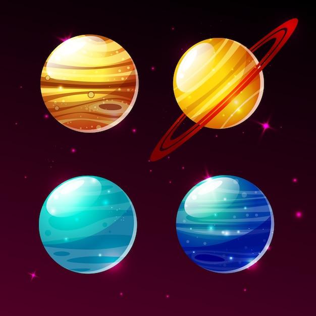 Planeten von galaxieillustrationsikonen von karikatur mars, mercury oder venus und saturn-ringe Kostenlosen Vektoren