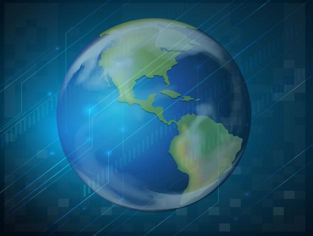 Planetenerde auf blau Kostenlosen Vektoren