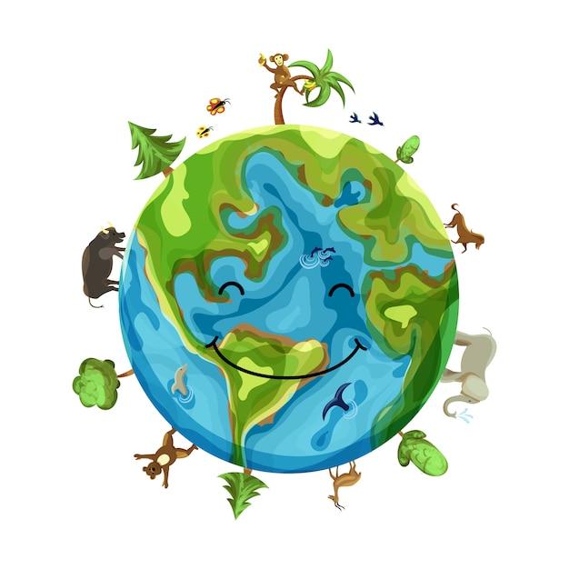 Planetenlächeln mit tieren Premium Vektoren