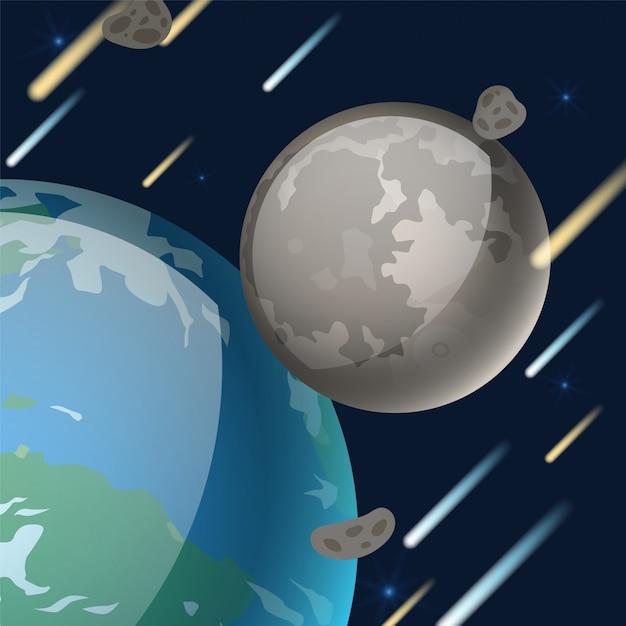Planetensystem, natürliche erdsatellitenillustration. weltraumobjekt, das sich neben der erde dreht. mondgraue oberfläche, krater Premium Vektoren